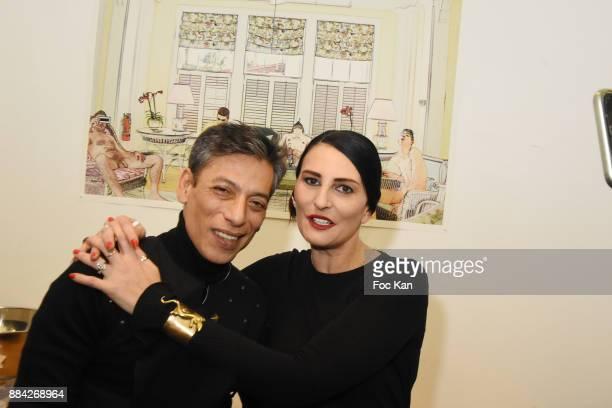 Photographer /illustrator Lenedy Angotand Sylvie Ortega Munos attend Lenedy Angot Calendar 2018 launch at Galerie Fabrice Hybert on December 1 2017...