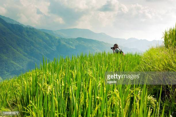 Fotógrafo en China Rice Terraces
