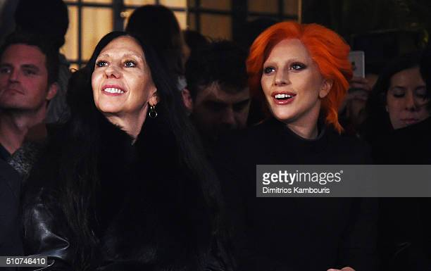 Photographer Inez van Lamsweerde and Lady Gaga attend the Brandon Maxwell A/W 2016 fashion show during New York Fashion Week at The Monkey Bar on...
