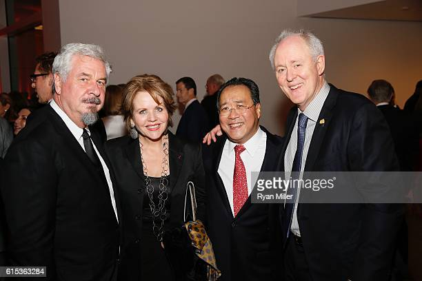 Photographer Jack Shear Renée Fleming YoYo Ma and actor John Lithgow pose during The J Paul Getty Medal Dinner on October 17 2016 in Los Angeles...