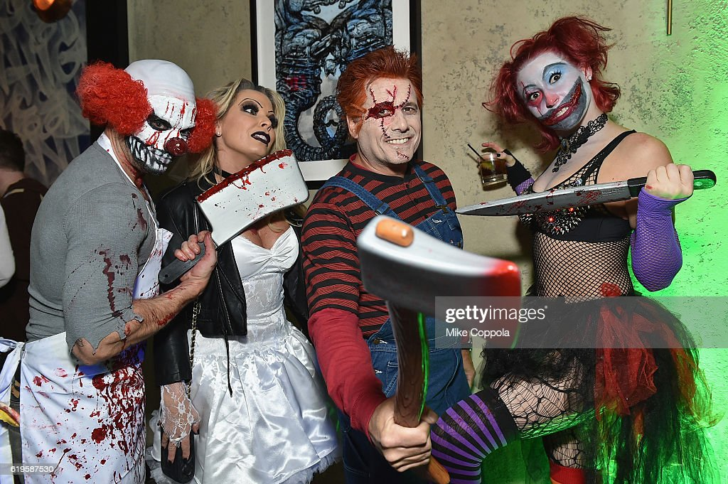 Photographer Jamie McCarthy, Jennifer Mazur, photographer Kevin Mazur and Megan Thompson attend Heidi Klum's 17th Annual Halloween Party sponsored by SVEDKA Vodka at Vandal on October 31, 2016 in New York City.