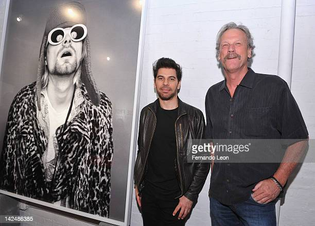 Photographer Jesse Frohman and Morrison Hotel Gallery owner Peter Blachley attend the Kurt Cobain by Jesse Frohman exhibition press preview reception...