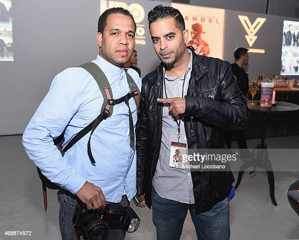 Photographer Johnny Nunez and Ulysses Terrero attend the HBO Latino red carpet premiere of the 'Camino Al Concierto and Legacy De Lider a Leyenda' at...