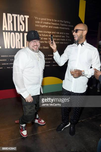 Photographer Jonathan Mannion and Swizz Beatz attend BACARDI Swizz Beatz and The Dean Collection bring NO COMMISSION back to Miami to celebrate...