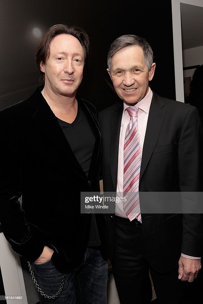 Photographer Julian Lennon and Congressman Dennis Kucinich attend the Julian Lennon 'Timeless' Exhibition at Morrison Hotel Gallery on February 9...