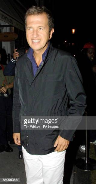 Photographer Mario Testino arrives at San Lorenzo in London for a private dinner to celebrate the opening of a new concession at Harvey Nichols by...