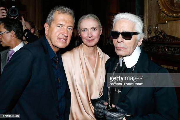 Photographer Mario Testino Chief editor of Vogue Germany Christiane Arp and fashion designer Karl Lagerfeld attending the Cocktail Dinatoire of...