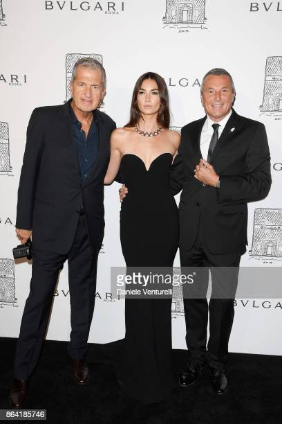 Photographer Mario Testino model Lily Aldridge and Bulgari CEO JeanChristophe Babin attend a party to celebrate the Bvlgari Flagship Store Reopening...