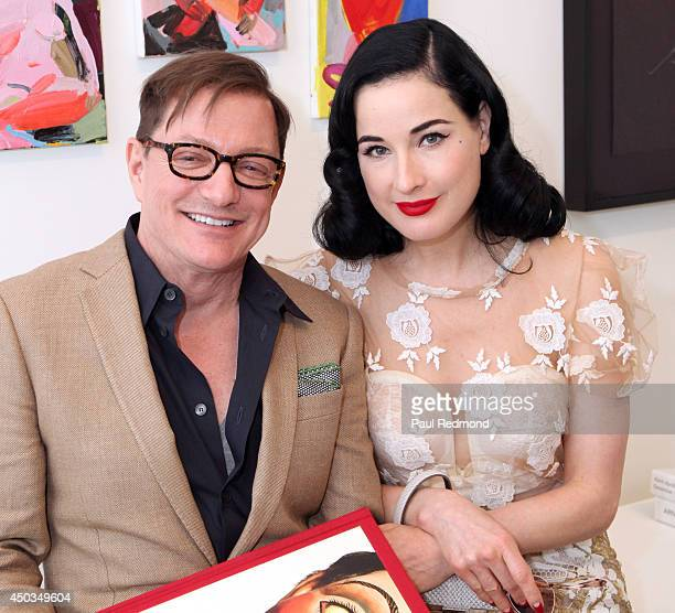 Photographer Matthew Rolston and Burlesque dancer/designer Dita Von Teese attend a private brunch hosted by Kay Saatchi for Matthew Rolston Talking...