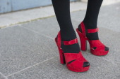 Photographer Micol Sabbadini wears Prada shoes on day 2 of Paris Collections Women on February 26 2014 in Paris France