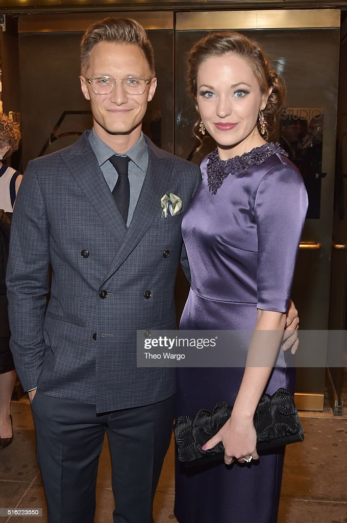 Photographer Nathan Johnson and actress Laura Osnes attend the opening night of 'She Loves Me' on Broadway at Studio 54 on March 17 2016 in New York...