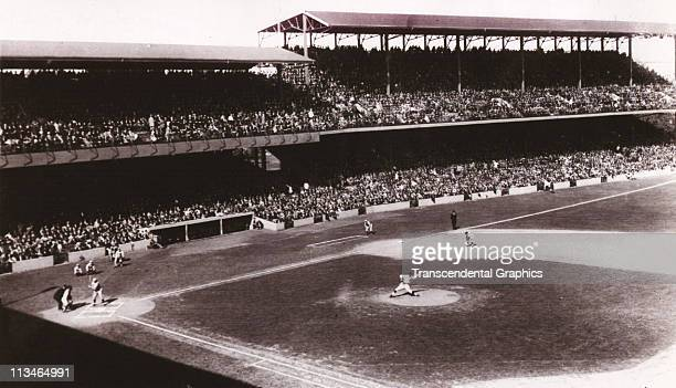 A photographer on the roof of Fenway Park during the 1945 season shot this photo of game action against the St Louis Browns in June1945 in Boston...