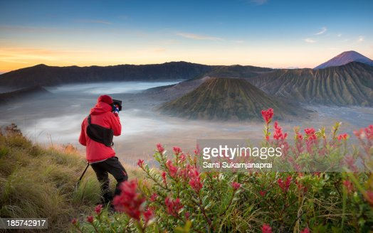 Photographer on top of the crater