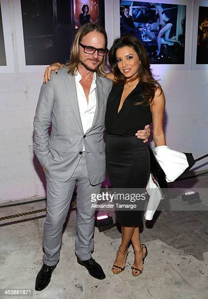 Photographer Randall Slavin and Actress Eva Longoria attend Moments In Motion An Exclusive Unveiling Of Never Before Seen Photos At De Nolet Miami...
