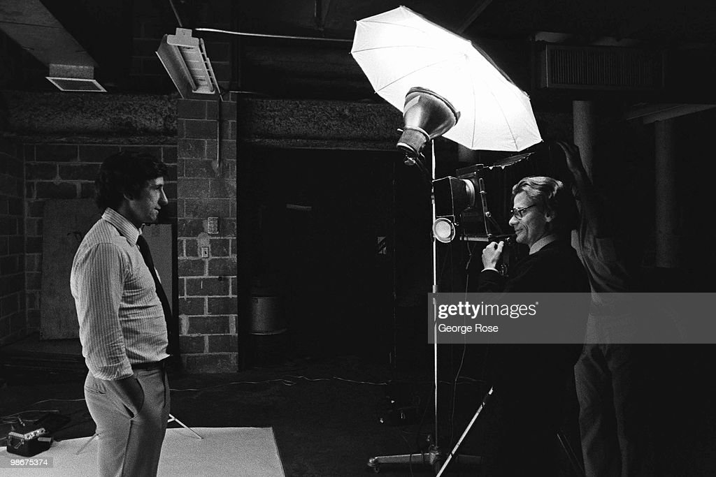 Photographer Richard Avedon takes pictures of activist Tom Hayden for a Rolling Stone Magazine article during the 1976 New York New York Democratic...