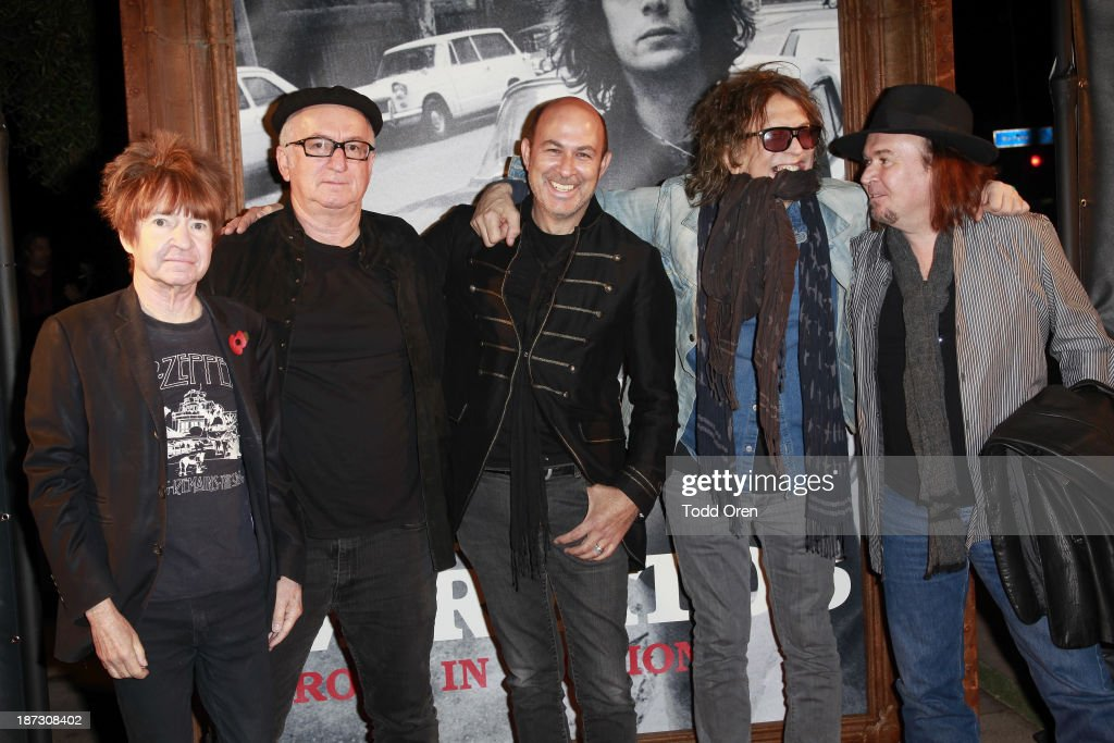 Photographer <a gi-track='captionPersonalityLinkClicked' href=/galleries/search?phrase=Rodney+Bingenheimer&family=editorial&specificpeople=242954 ng-click='$event.stopPropagation()'>Rodney Bingenheimer</a>; photographer Robert Knight; designer/author John Varvatos; phtotographer <a gi-track='captionPersonalityLinkClicked' href=/galleries/search?phrase=Mick+Rock&family=editorial&specificpeople=236042 ng-click='$event.stopPropagation()'>Mick Rock</a>; photographer Robert Matheu arrive at the 'John Varvatos: Rock In Fashion book launch celebration held at John Varvatos Los Angeles on November 7, 2013 in Los Angeles, California.