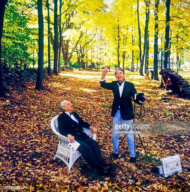 Photographer Slim Aarons and editor in chief of Town Country Frank Zachary are photographed for Vanity Fair Magazine on October 14 1997 at Slim...