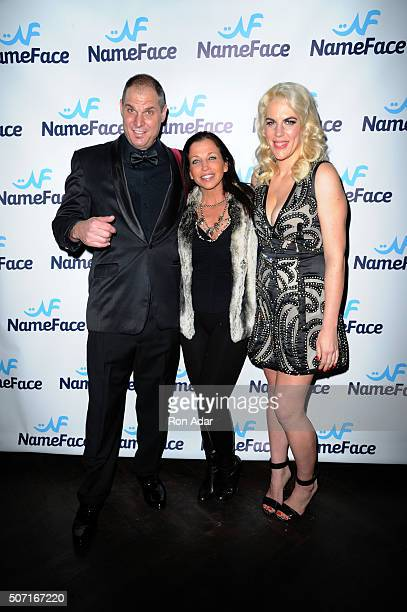 Photographer Steve Eichner Wendy Diamond and Developer Daniela Kirsch attend the NameFacecom launch at No 8 on January 27 2016 in New York City