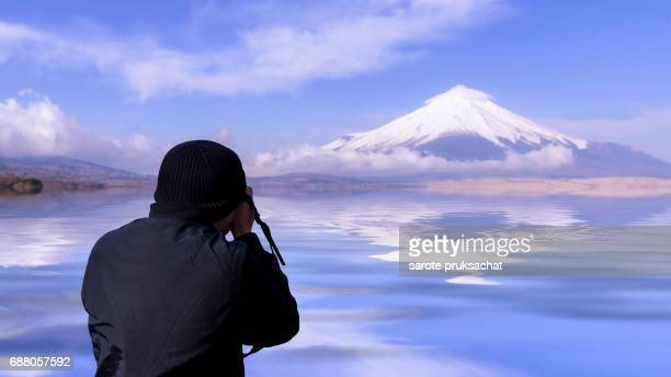 Photographer take photo at Fuji-san ,MT Fuji Japan .