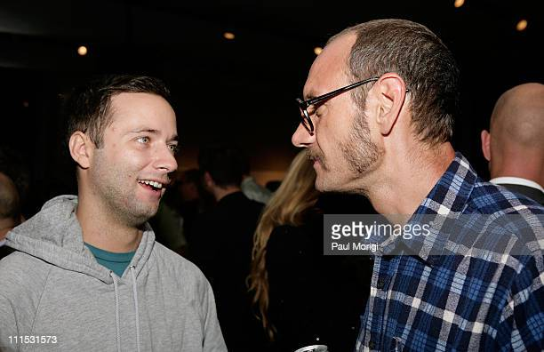 Photographer Terry Richardson and a guest attend La Mer Celebrates 'Liquid Light' By Fabien Baron at The Glass Houses on September 10 2008 in New...