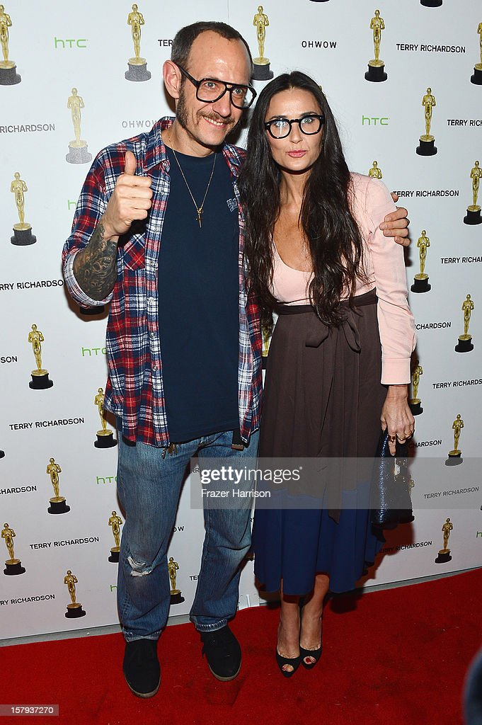 Photographer Terry Richardson and actress Demi Moore attend the OHWOW & HTC celebration of the release of 'TERRYWOOD' at The Standard Hotel & Spa on December 7, 2012 in Miami Beach, Florida.