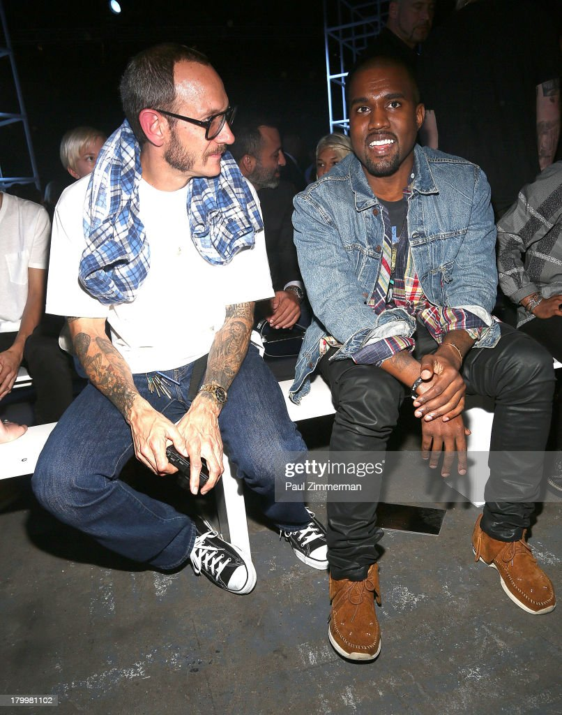 Photographer <a gi-track='captionPersonalityLinkClicked' href=/galleries/search?phrase=Terry+Richardson&family=editorial&specificpeople=758714 ng-click='$event.stopPropagation()'>Terry Richardson</a> (L) and musician <a gi-track='captionPersonalityLinkClicked' href=/galleries/search?phrase=Kanye+West+-+Musician&family=editorial&specificpeople=201803 ng-click='$event.stopPropagation()'>Kanye West</a> attend the Alexander Wang show during Spring 2014 Mercedes-Benz Fashion Week at Pier 94 on September 7, 2013 in New York City.
