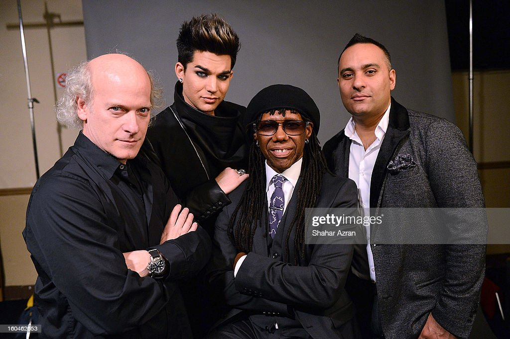 photographer Timothy Greenfield-Sanders, Adam Lambert, Nile Rodgers and Russell Peters attend 2013 We Are Family Foundation Gala at Hammerstein Ballroom on January 31, 2013 in New York City.