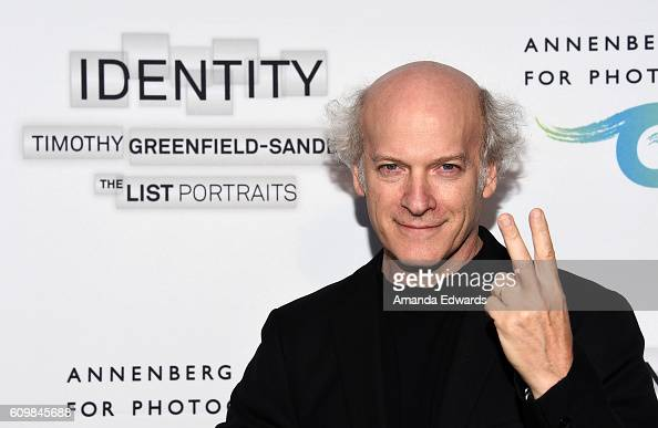 Photographer Timothy GreenfieldSanders arrives at IDENTITY Timothy GreenfieldSanders The List Portraits exhibition opening at the Annenberg Space for...