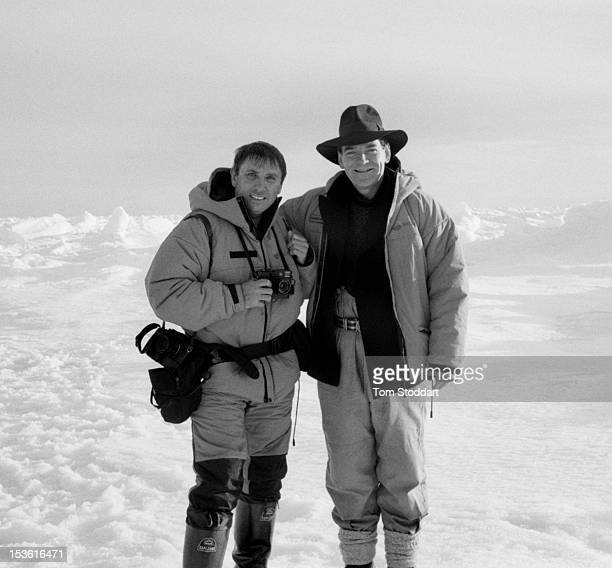 Photographer Tom Stoddart with actor Kenneth Branagh during location filming for the TV serial 'Shackleton' directed by Charles Sturridge April 2001...