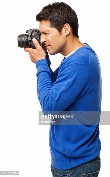 Fotógrafo con cámara DSLR aislado