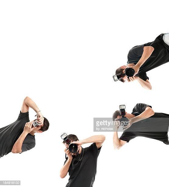 Photographe avec caméra, isolé sur blanc