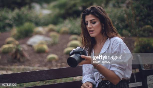Photographer woman outdoors