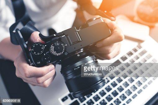 Photographer workplace : Foto de stock