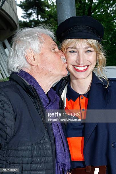 Photographer Yann ArthusBertrand and actress Pauline Lefevre attend Day Twelve of the 2016 French Tennis Open at Roland Garros on June 2 2016 in...
