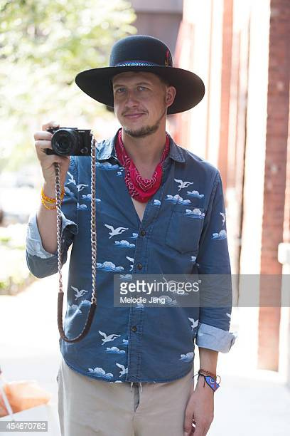 Photographer Yvan Rodic wears The Assembly shirt and pants a hat from California and authentic French espadrilles on Day 1 of New York Fashion Week...