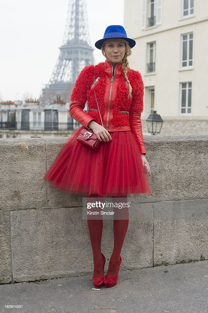 Photographer Zhanna Roma wears a Cloud X jacket, Dior skirt, Maison Michel hat, Cassadei shoes , and a Paula Cademartori bag on day 2 of Paris Womens Fashion Week Autumn/Winter 2013 on March 1, 2013 in Paris, France.