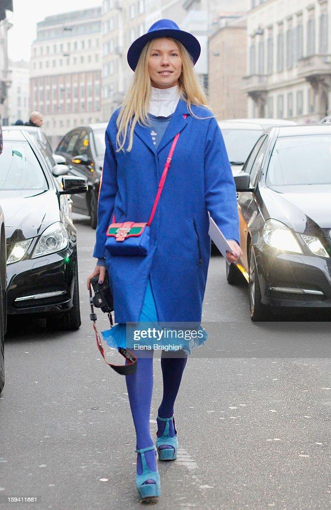 Photographer Zhanna Romashka is seen at Milan Fashion Week on January 12, 2013 in Milan, Italy.