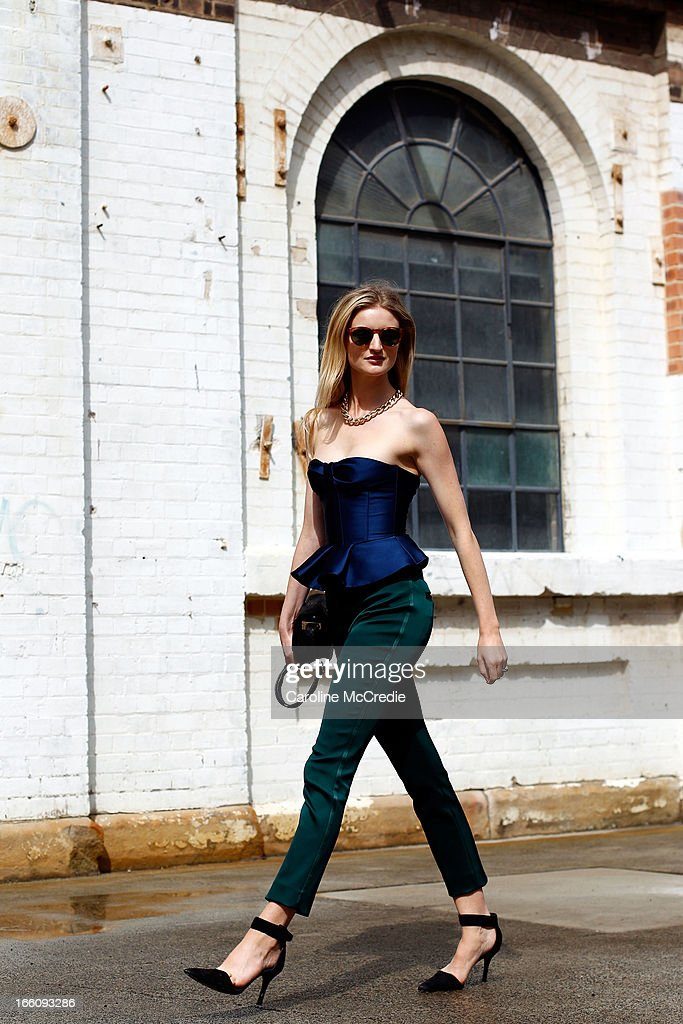 Photographer/Model Candice Lake wears a top and pants by Burberry, and shoes by Alexander Wang at Mercedes-Benz Fashion Week Australia Spring/Summer 2013/14 at Carriageworks on April 9, 2013 in Sydney, Australia.