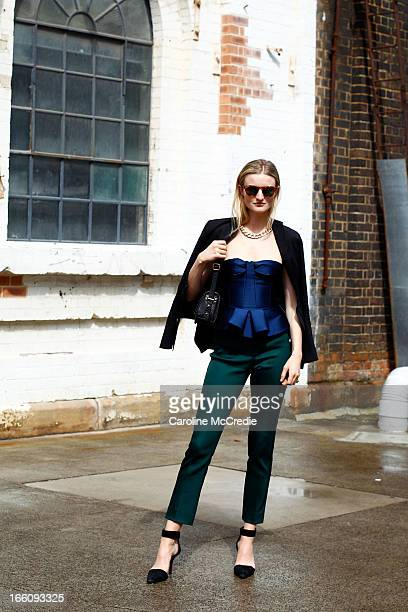 Photographer/Model Candice Lake wears a top and pants by Burberry and shoes by Alexander Wang at MercedesBenz Fashion Week Australia Spring/Summer...