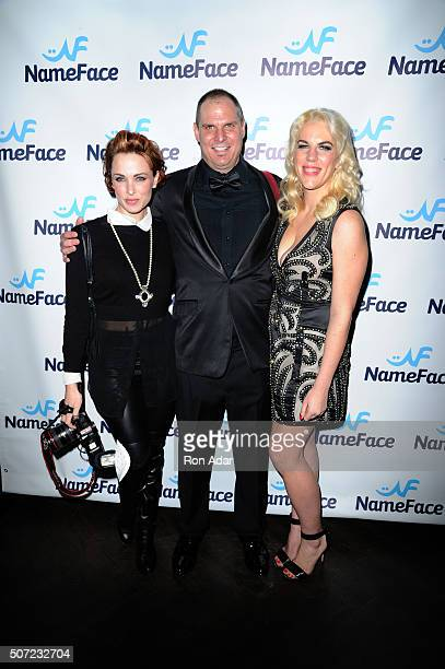 Photographers Amber De Vos Steve Eichner and Developer Daniela Kirsch attend the NameFacecom launch at No 8 on January 27 2016 in New York City