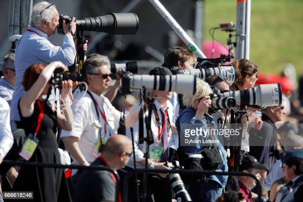 Photographers attend the official ceremony for the Commemoration of the 100th Anniversary of Vimy Battle on April 9 2017 in Vimy France