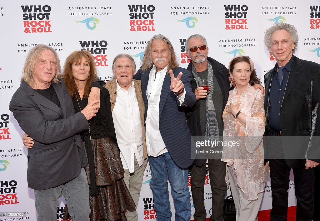 Photographers Norman Seeff, Lynn Goldsmith, Henry Diltz, Album Designer Gary Burden, Photographers Guy Webster, Jill Furmanovsky and Bob Gruen attend the Who Shot Rock & Roll Opening Night VIP Reception at the Annenberg Space For Photography on June 21, 2012 in Century City, California.