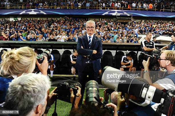 Photographers photograph manager Claudio Ranieri of Leicester City ahead of the Champions League tie between Club Brugge and Leicester City at Jan...