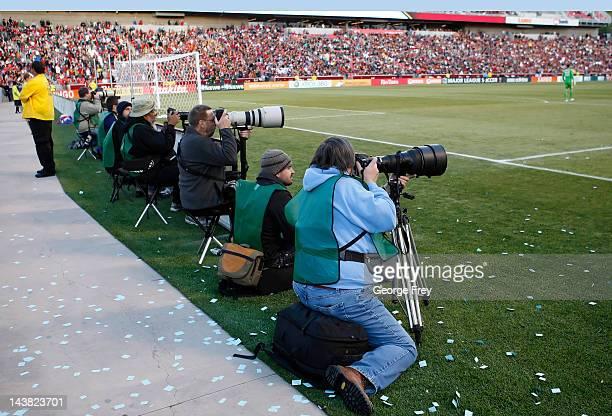 Photographers shoot a game between Real Salt Lake and Toronto FC on April 28 2012 at Rio Tinto Stadium in Sandy Utah Real Salt Lake beat Toronto FC 32