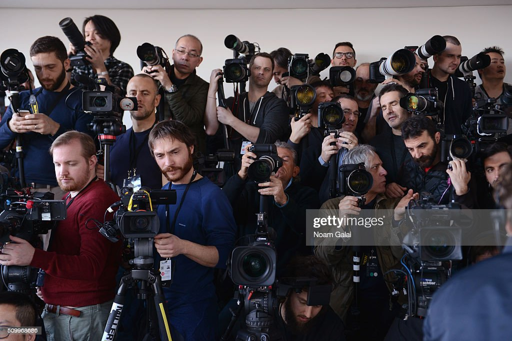Photographers shoot the Lacoste Fall 2016 fashion show during New York Fashion Week at Spring Studios on February 13, 2016 in New York City.
