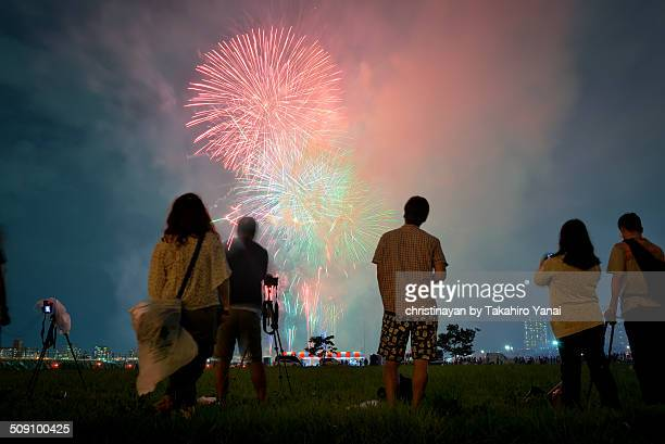 Photographers shooting fireworks