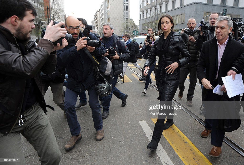 Photographers surround Karima El Mahroug as she arrives to protest in front of Palazzo di Giustizia on April 4 2013 in Milan Italy Karima El Mahroug...