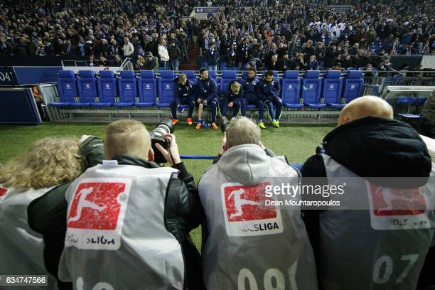 Photographers take images of KlaasJan Huntelaar of Schalke on the bench during the Bundesliga match between FC Schalke 04 and Hertha Berliner...