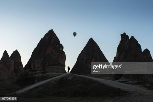 Photographers taking pictures of balloons in Cappadocia, Turkey
