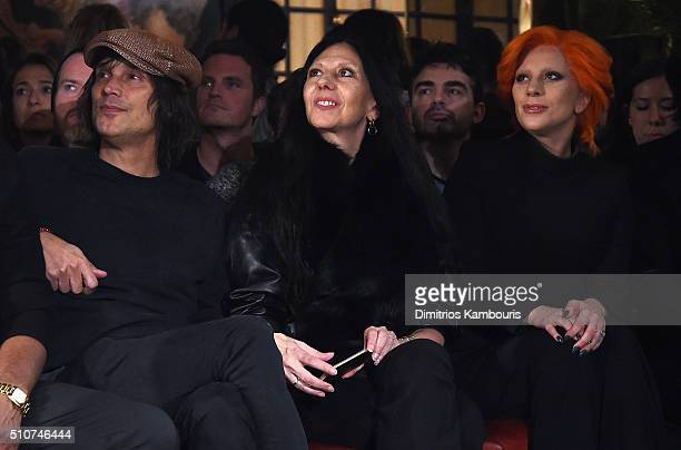 Photographers Vinoodh Matadin and Inez van Lamsweerde and Lady Gaga attend the Brandon Maxwell A/W 2016 fashion show during New York Fashion Week at...
